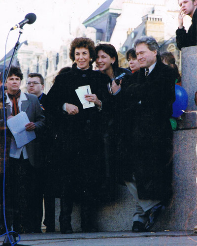 Trafalgar Sq Jan 1994 Gay Rights rally with Tony Banks MP and daughter Debbie
